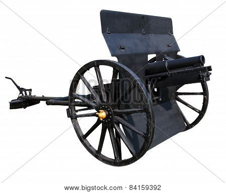 Old Black Cannon Isolated White Background Use For Ancient Battle Weapon Nad Decoration
