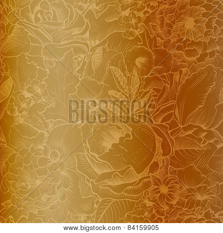 Seamless Vintage Pattern With Lush Flowers. Gold