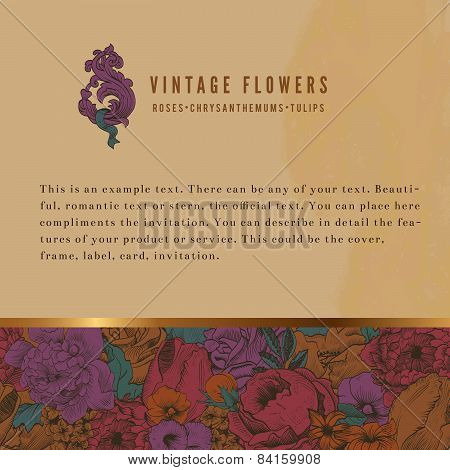 Vintage Background With Lush Flowers