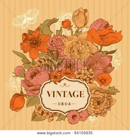 Vintage Frame With Lush Flowers