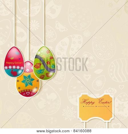 Easter Background With Hanging Eggs