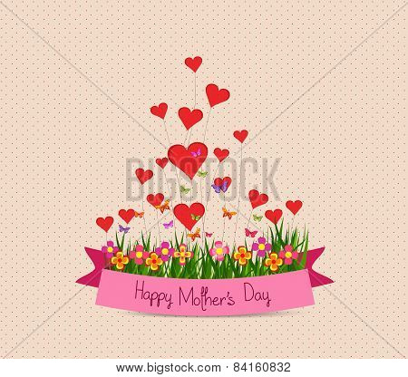 Happy Mothers's Day with label and heart greeting card
