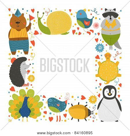 Cute animal frame with baby animals