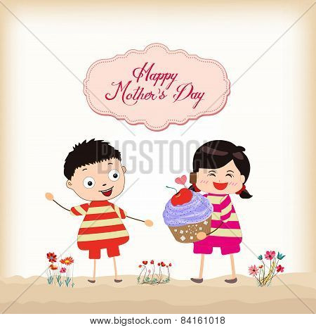 happy mothers day boy and girl with cupcake