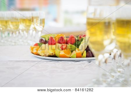Banquet Fruit Plate With Champagne Glasses
