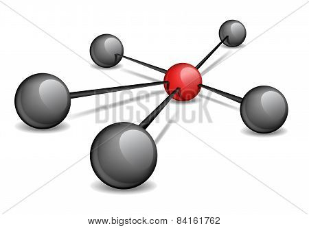 The conceptual illustration - a red sphere in the center connects the black ones.