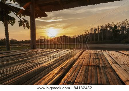 Bamboo Flooring With Sunset