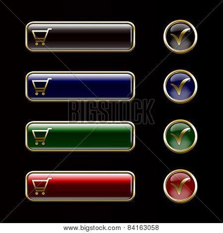 Internet Icons And Buttons, Gold