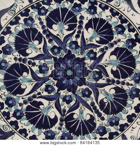 hand made blue porcelain plate