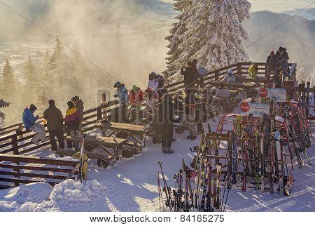 Skiers At Postavaru Cottage, Romania
