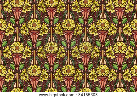 sunflowers wallpaper, brown