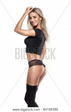 Studio Photo Of Posing Sexy Woman With Nice Lingerie