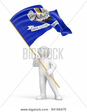 Man and flag of Louisiana (clipping path included)