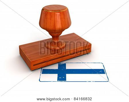 Rubber Stamp Finnish flag (clipping path included)