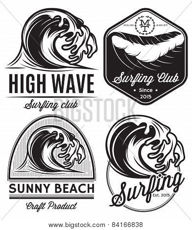 Set Of Patterns For Design On The Theme Of Water, Surfing, Ocean, Sea