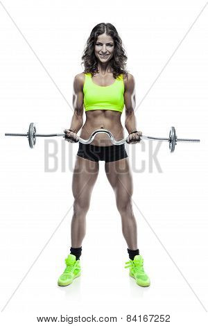 Nice Sexy Woman Doing Workout With Big Dumbbell  (retouched)