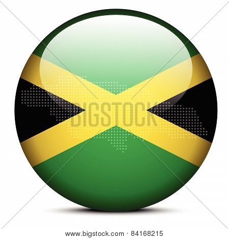 Map With Dot Pattern On Flag Button Of Jamaica