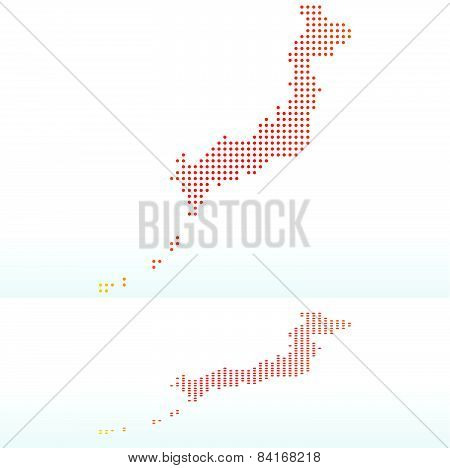 Map Of State Of Japan With Dot Pattern