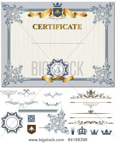 Certificate with design elements.