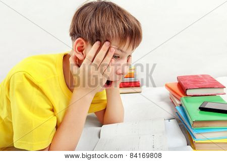 Surprised Teenager Doing Homework