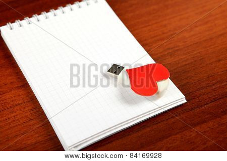 Usb Flash Drive On The Note Pad