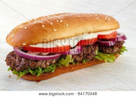 Elongated burger