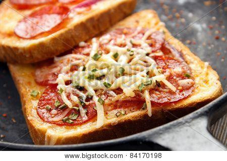 Hot sandwiches closeup