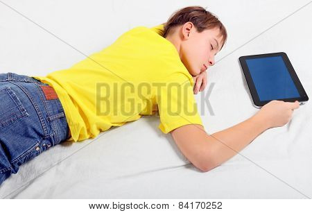 Kid Sleep With Tablet Computer