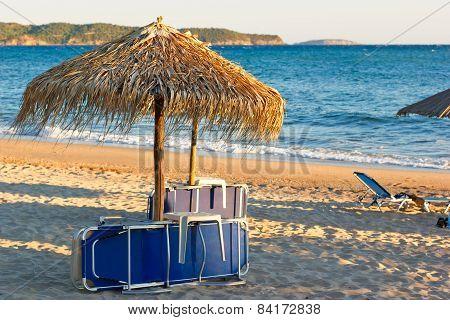 Sunset on sandy beach