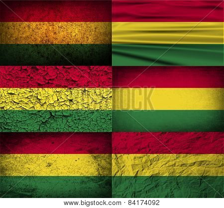 Flag Of Bolivia With Old Texture. Vector