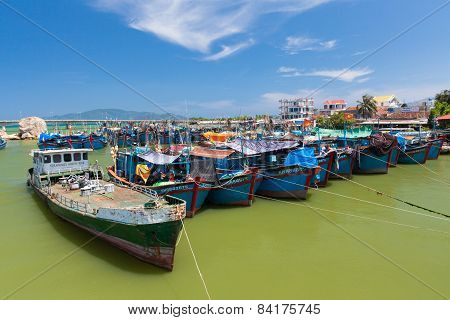 Vietnamese fishing boats in the port
