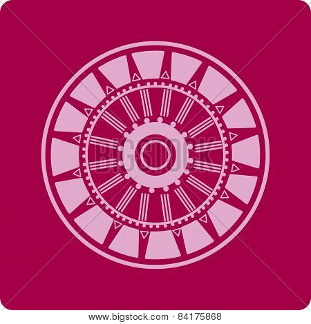 Flower In Circle, Mandala, Ornamental Lace In Circle, Sun, Icons, Shapes, Starbursts