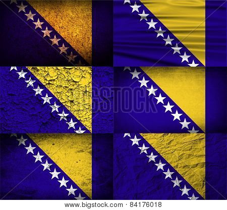 Flag Of Bosnia And Herzegovina With Old Texture. Vector