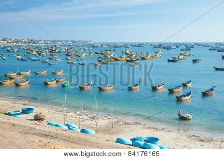Fishing boats in rural area of Mui Ne