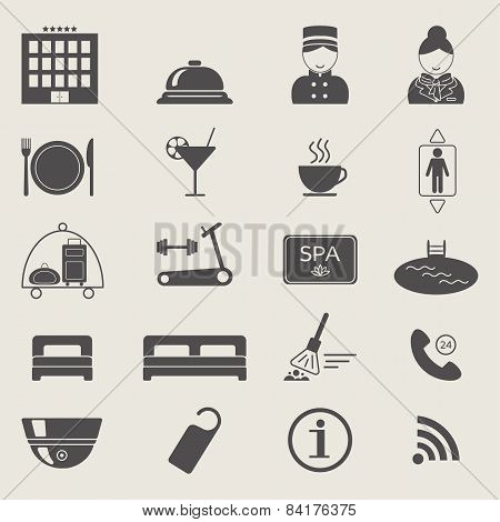 Hotel Services Icons. Monochrome Color. Silhouette. Vector