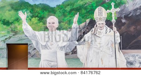 Mural Of Pope John Paul Ii And Benedict Xvi