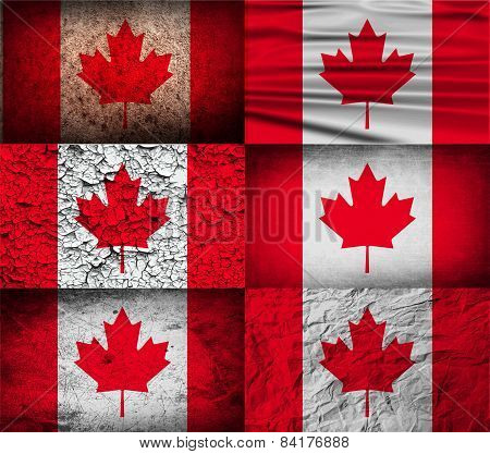 Flag Of Canada With Old Texture. Vector