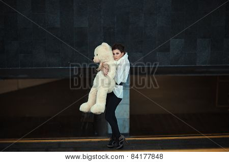 Sad Girl With A Bear.