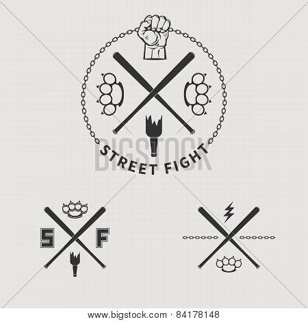 Vector street fight emblem