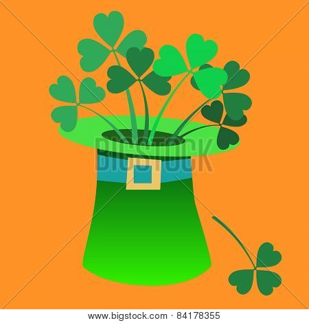 Leprechaun hat with a Shamrock inside Patrick day