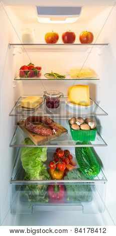Open Fridge Filled With Food
