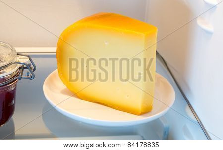 Cheese In The Fridge With The Door Open
