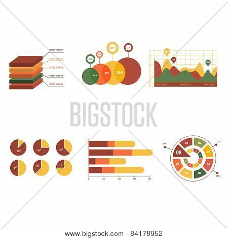 Business data market elements dot bar pie charts diagrams and graphs flat  Infographics elements.