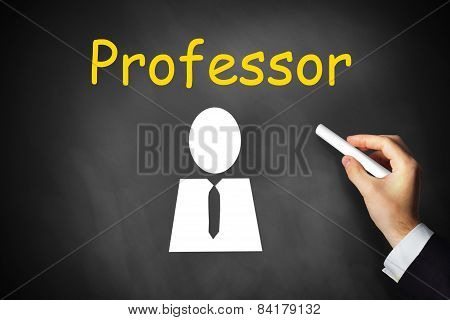 Hand Writing Professor On Black Chalkboard
