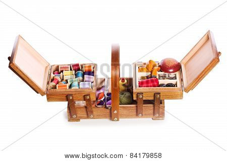 Wooden Box With Scissors, Various Threads  And Sewing Tools