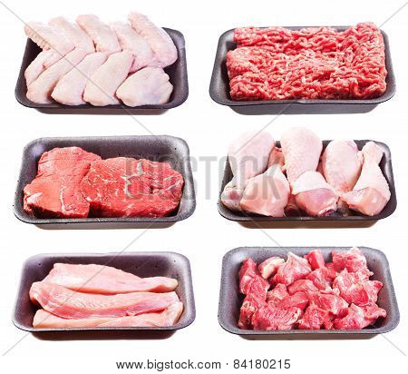 Set Of Various Raw Meat In A Plastic Tray