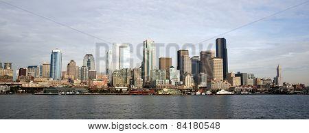 Buildings Piers Elliott Bay Puget Sound Seattle City Skyline Waterfron