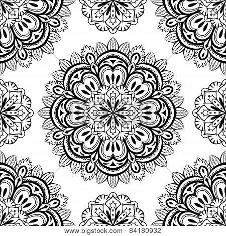 Vector, Oriental, Seamless Background With Mandalas