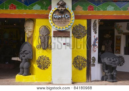 Exterior of a souvenir shop in Santo Domingo, Dominican Republic.