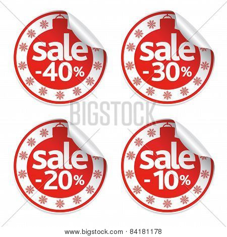 New Year sale stickers set